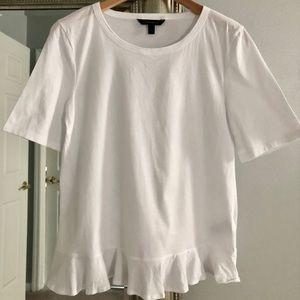 White T-shirt with Ruffle Hem